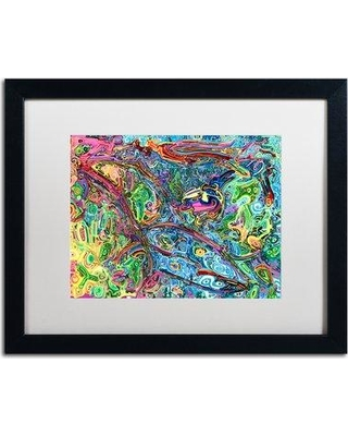 """Trademark Art 'One Bird Sings' Framed Painting Print ALI5572-B1 Matte Color: White Size: 16"""" H x 20"""" W x 0.5"""" D"""