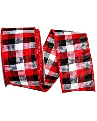 Reliant Ribbon Mountain Buffalo Check Value Wired Edge Ribbon Red//black 1-1//2 Inch X 50 Yards