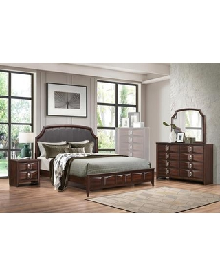 Harrison Collection HA375KNMDR 4-Piece Bedroom Set with King Bed Nightstand Mirror and Dresser in Espresso