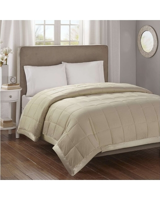 Bed Blanket Parkman Premium Oversized Hypoallergenic Down Alternative with 3M Scotchgard (Full/Queen) Taupe, Taupe Brown