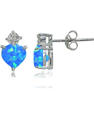 Glitzy Rocks Sterling Silver Created Blue Opal and Diamond Accent Heart Drop Stud Earrings (Created Blue Opal)