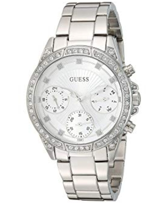 GUESS Women's Quartz Watch with Stainless Steel Strap, Silver, 24 (Model: U1293L1)