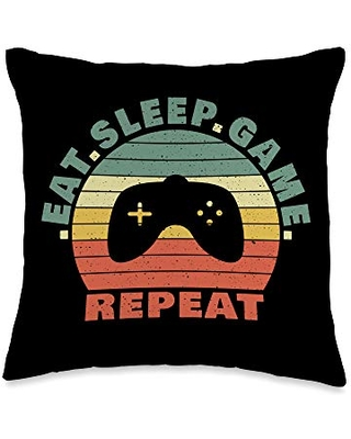 Gamer Decor and Gifts by EmilyCTess Retro - Eat Game Sleep Repeat - Gamer Throw Pillow, 16x16, Multicolor