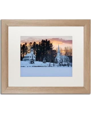 """Trademark Art Winter Sunset' Framed Photographic Print on Canvas ALI3844-T1 Matte Color: White Size: 16"""" H x 20"""" W x 0.5"""" D"""