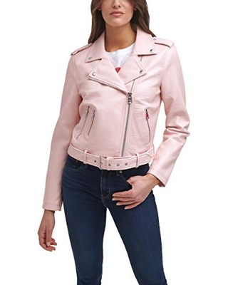 Levi's Women's Faux Leather Belted Motorcycle Jacket (Standard and Plus Sizes),Pink,2X
