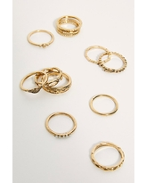 Honey Ring Set by Free People, Gold / Opal, One Size