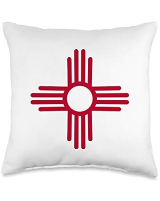 New Mexico Flag New Mexico State Zia Symbol Flag Throw Pillow, 16x16, Multicolor