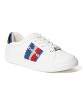 Bebe Women's Coley Logo Sneakers, Size 10 in White/Blue Synthetic