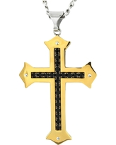 Men's Crucible Gold Plated Stainless Steel Black Cubic Zirconia Cross Necklace, Gold/Silver/Black