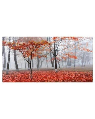 """East Urban Home Floral 'Autumn Tree in New York Central Park' Photographic Print on Wrapped Canvas ETUC3001 Size: 16"""" H x 32"""" W x 1"""" D"""