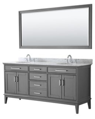 Wyndham Collection Margate Double Vanity with Carrara Marble Top, Oval Sinks, and Mirror (Dark Gray)
