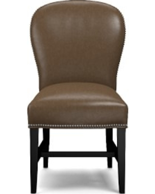 Maxwell Dining Side Chair without Handle, Italian Distressed Leather, Toffee, Polished Nickel