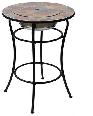"""Rock Canyon Classico Collection DM-13002H 30"""" Outdoor Bar Table with Natural Slate Design Round Shape Stainless Steel Ice Basin Insert and Center"""