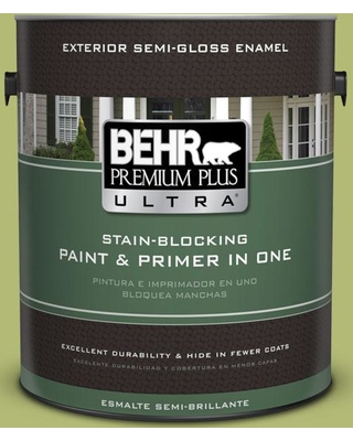 BEHR ULTRA 1 gal. #410D-4 Asparagus Semi-Gloss Enamel Exterior Paint and Primer in One