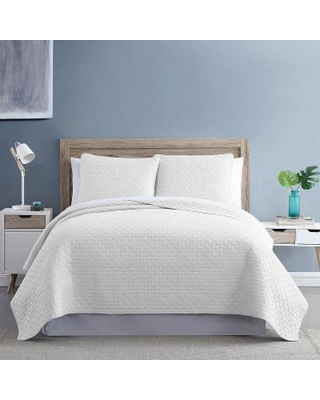 Diamond Link 3-Piece Enzyme Washed Quilt Set, White, King