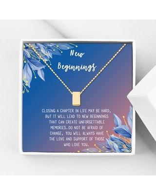 Anavia New Beginnings Gift Card for Her, New Job Gift, New Relationship Gift Card, Cheer up Gift Necklace, Encouragement Gift for Daughter-[Gold Cube, Blue-Orange Gift Card]