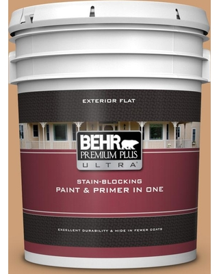 BEHR ULTRA 5 gal. #ICC-62 Pumpkin Butter Flat Exterior Paint and Primer in One