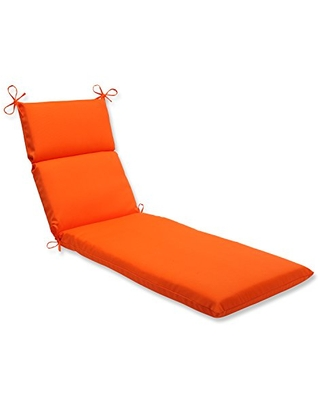 """Pillow Perfect Outdoor/Indoor Sundeck Chaise Lounge Cushion, 72.5"""" x 21"""", Orange"""