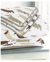 Sleeping Partners Dachshund Dog Pompom Trimmed Quilt and Pillow Sham, 2 Piece Set - Taupe