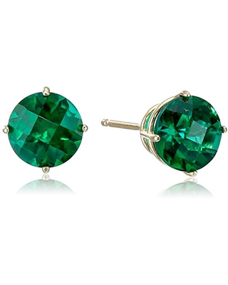 10k Yellow Gold Round Checkerboard Cut Created Emerald Stud Earrings (6mm)