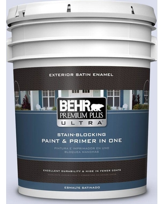 BEHR ULTRA 5 gal. #620C-1 Winter Ice Satin Enamel Exterior Paint and Primer in One