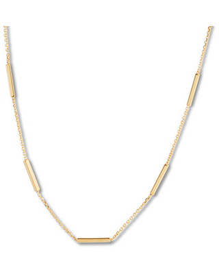 """Station Choker Necklace 10K Yellow Gold 16"""" Adjustable"""