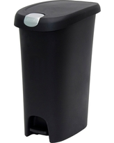 Hefty 12.3 Gal. Step-On Waste Can with Locking Lid - Black