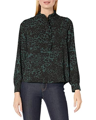 Amazon Brand - Lark & Ro Women's Long Sleeve Ruffle Placket Button-Up Blouse, Olive Leopard, 2