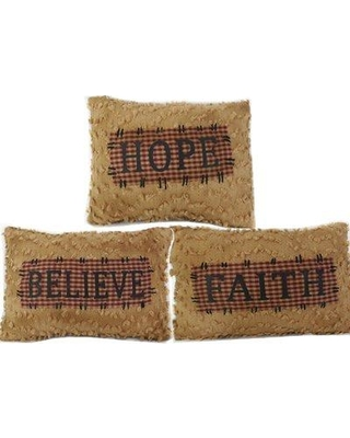 Craft Outlet Faith-Hope-Believe Chenille Throw Pillow Set 40333
