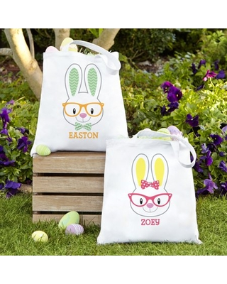 Personalized Smart Bunnies Easter Tote Bag-Blue