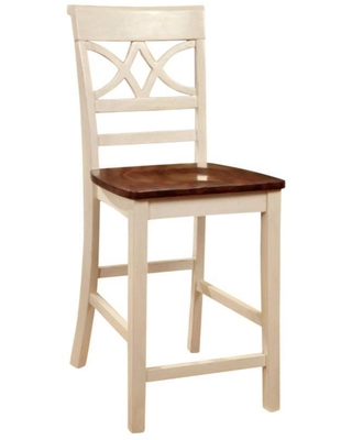Set of 2 Cottage Counter Height Barstools with Wooden Seat Off-White - Benzara