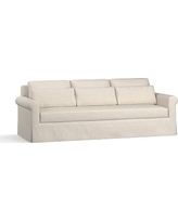 "York Roll Arm Slipcovered Deep Seat Grand Sofa 98"" with Bench Cushion, Down Blend Wrapped Cushions, Performance Slub Cotton Stone"