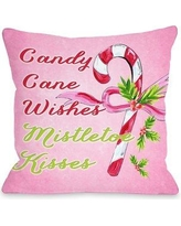 "One Bella Casa Candy Cane Wishes Mistletoe Kisses Throw Pillow 72839PL18 / 72839PL16 Size: 16"" x 16"""