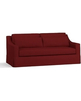 "York Slope Arm Slipcovered Deep Seat Sofa 80"" with Bench Cushion, Down Blend Wrapped Cushions, Twill Sierra Red"