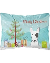 The Holiday Aisle Newburg Christmas Tree and Bull Terrier Fabric Indoor/Outdoor Throw Pillow BI148744