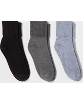 Women's 3pk Mary Jane Fold Over Cuff Socks - A New Day Gray Heathers One Size, Multi-Colored
