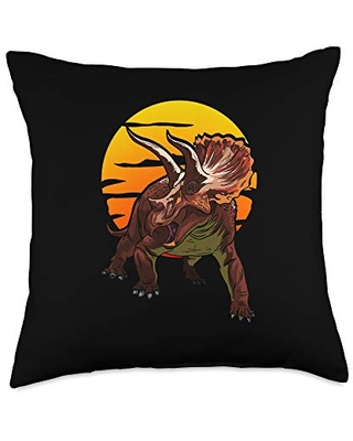 Cool Jurassic Dinosaurs Gift for Triceratops Lover Big Triceratops Herbivores for Dinosaurs Fans Throw Pillow, 18x18, Multicolor