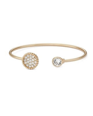Forever Last 14kt Gold Brass Plated Gold Plate Open End Bangle Circle Swarovski Stone