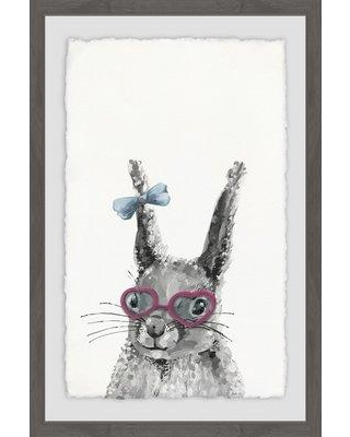 """Wrought Studio 'Bow on Bunny' Framed Acrylic Painting Print BF183866 Size: 36"""" H x 24"""" W x 1.5"""" D"""