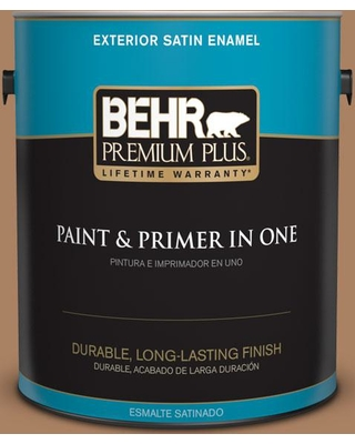BEHR Premium Plus 1 gal. #pmd-51 Cardamom Satin Enamel Exterior Paint and Primer in One