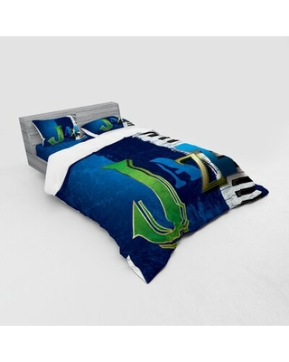 Cracked Jazz Music Background with Piano Keys Musicd Print Duvet Cover Set East Urban Home Size: Queen Duvet Cover + 3 Additional Pieces