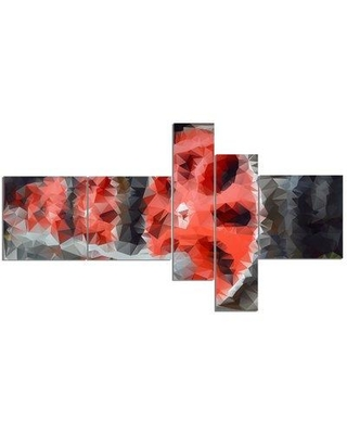 East Urban Home 'Red Wheels of Old Steam Train' Graphic Art Print Multi-Piece Image on Canvas EABO2562