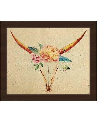 """Click Wall Art Crown of Flowers Framed Painting Print on Canvas IZON8785 Format: Espresso Framed Size: 18.5"""" H x 22.5"""" W"""