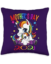 Unicorn - Mother's Day 2021 Throw Pillow, 16x16, Multicolor