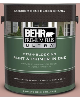 BEHR Premium Plus Ultra 1 gal. #S170-4 Retro Pink Semi-Gloss Enamel Exterior Paint and Primer in One