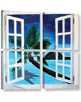 """ArtWall Palm View Window by Marcus/Martina Bleichner 4 Piece Painting Print on Wrapped Canvas Set 0ble106e3636w / 0ble106e4848w Size: 36"""" H x 36"""" W x 2"""" D"""