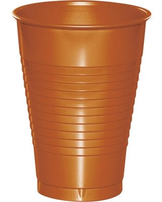 Pumpkin Spice Orange 12 oz Plastic Cups 60 Count for 60 Guests