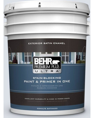 BEHR Premium Plus Ultra 5 gal. #ppl-70 Eastern Breeze Satin Enamel Exterior Paint and Primer in One