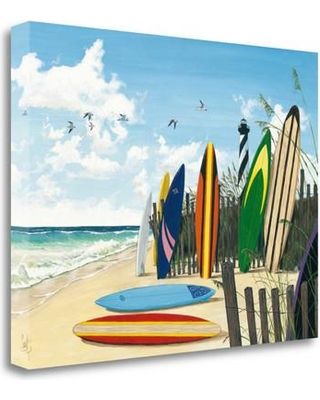 """Tangletown Fine Art 'Surfboards' by Scott Westmoreland Painting Print on Wrapped Canvas ICW675D-2418c Size: 18"""" H x 24""""W"""