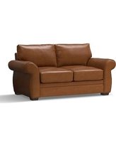 """Pearce Leather Loveseat 73"""", Down Blend Wrapped Cushions, Leather Signature Maple"""